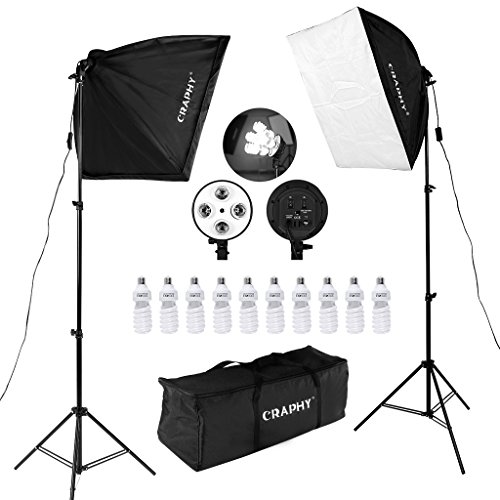 CRAPHY 450W Photography Studio Softbox Lights Softboxes Continuous Lighting Kit with Carrying Bag - 10x 45W Light Bulbs + 40CMx60CM Softbox + 4-Head Bulb Holder for Photo Video Portrait…