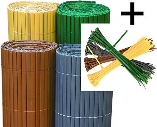 EXCOLO PVC Sichtschutzmatte Sichtschutzzaun Sichtschutz Windschutz Blickschutz für Garten Terrasse in grün grünlich dunkelgrün tannengrün (H 100 cm x L 300 cm)