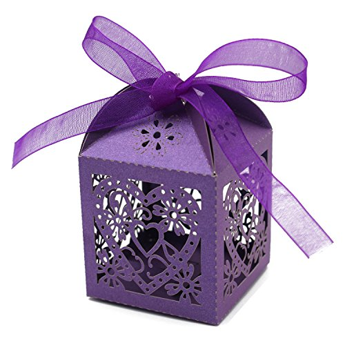 KPOSIYA 70 Pack Love Heart Laser Cut Wedding Party Favor Box Candy Bag Chocolate Gift Boxes Bridal Birthday Shower Bomboniere with Ribbons (Purple)