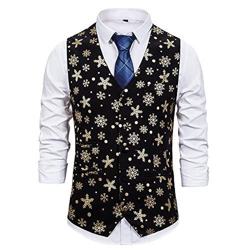 Kerst Waistcoat Heren Sneeuwvlok Hot Stempelen Vest, Disco Dans Tops Kostuum Party Clubwear Stage Gilet