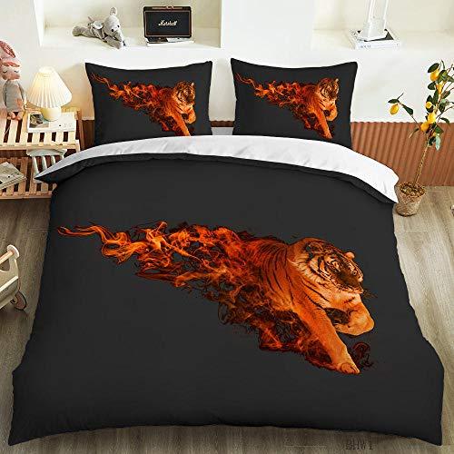 HGFHGD Bettwäsche-Set mit 3D-Digitaldruck, Motiv: Flamme Tiger, für Schüler, Erwachsene, Kinder, Bettbezug, Kissenbezug