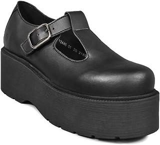 Altercore Blair Zapatos Mujer Plataforma Negro Vegan Mary Jane Cuña