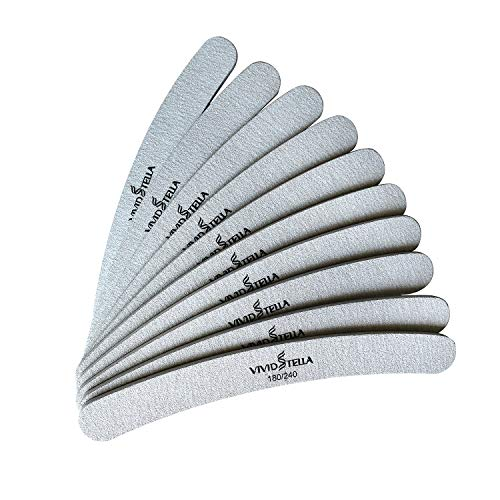 Nagelfeilen Zebra Gebogen 10 Stück Nagelfeile Doppelseitig Schmirgelbrett Professionelle Nagelwerkzeuge 180/240 Streugut Nagelfeilen für Gelnägel