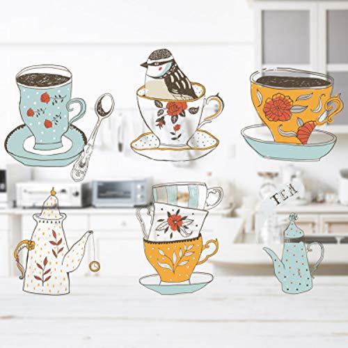 KüchenteeSet WandaufkleberWasserdichtes Geschirr Mit Tasse Logo Aufkleber Schrank Selbstklebende Abnehmbare Tapete