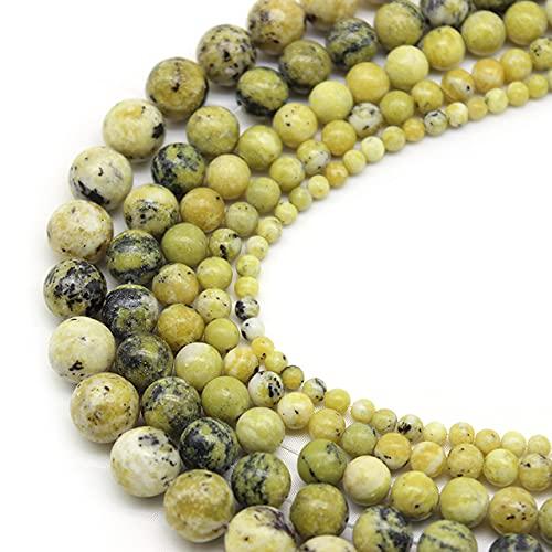 Venta al por mayor de piedra turquesa amarilla natural cuentas sueltas redondas 4 6 8 10 12 mm para hacer joyas collar de pulsera de bricolaje 15 '' - amarillo, 4 mm aprox 93 cuentas