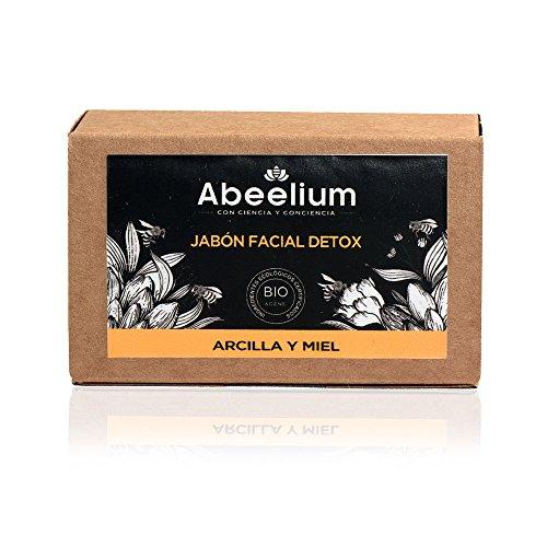 Abeelium | Jabón Facial Arcilla y Miel Detox | Limpia e hidrata en profundidad - Producto Natural y Ecológico | Hecho en España - 100 grs
