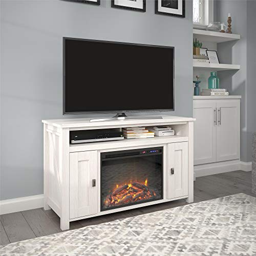 Ameriwood Home Farmington Electric Fireplace Console 50', Ivory Pine TV Stand