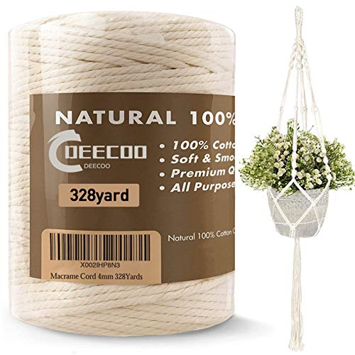 DeeCoo Macrame Cord 4mm x 328yd   100% Natural Cotton Macrame Rope   3 Strand Twisted Cotton Cord for Handmade Plant Hanger Wall Hanging Craft Making Bohemia Dream Catcher DIY Craft Knitting