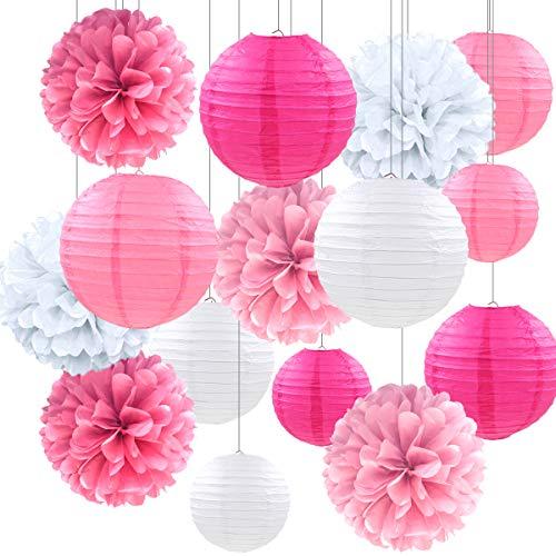 15 Piezas Linternas de Papel,Farolillos de Papel Chinos Redondos,Farolillos Voladores Chinos,Linternas de papel Lámparas de Papel Redondas para cumpleaños,Novia, Festival, Decoración de Fiesta
