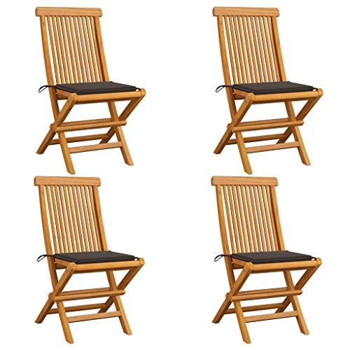 vidaXL - 4 sillas de jardín de madera maciza de teca con cojines, sillas de terraza, sillas de comedor, sillas de patio, balcón exterior, color gris