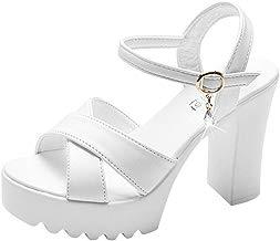 Sandalias Mujer Verano 2019 con Plataforma - Una Palabra Hebilla Zapatos de Cuña - con Altas Tacon 10 CM - Talla 35 a 40 - para Playa Fiesta