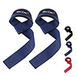 Cotton Hard Pull Wrist Lifting Straps Grips Band-Deadlift Straps with Neoprene Cushioned Wrist Padded and Anti-Skid Silicone - for Weightlifting, Bodybuilding, Xfit, Strength Training(Pair) (Blue)