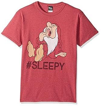 Disney Men s Snow White and Seven Dwarfs Hashtag Sleepy Graphic T-Shirt red Heather XL