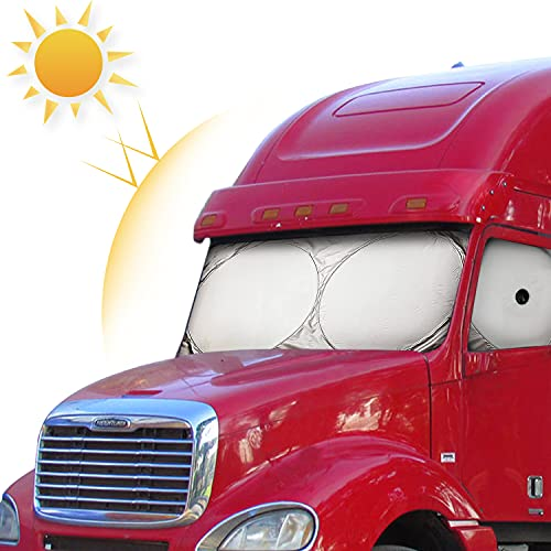 Semi-Truck Sun Shade for Windshield and Side Window | Sunshade Maximum Coverage Windshields for Truck - Block UV Sun Heat Rays - Best for Semi, Commercial & Big Rig Truck, RV(Side Windows Suction Cup)