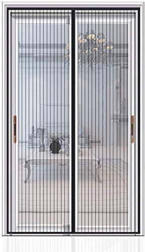 Auxmir Mosquitera Puerta Cortina Magnetica con Imanes y la Banda Autoadhesiva Grande para Puerta Corredera de Aluminio Puerta de Madera 140x240 Negro