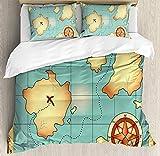 zpangg Carte de l'île Housse de Couette Ensemble Treasure World Map Design avec Compass Navigation Adventure Hidden Land Ensembles de literie décoratifs