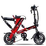 CJCJ-LOVE Las Bicicletas Eléctricas Plegable E-Bici para Adultos, 36V / 350W / Portátil Tándem De La Bicicleta Scooter Eléctrico con Batería De Iones De Litio Ecológico Ciclismo,Rojo,70KM