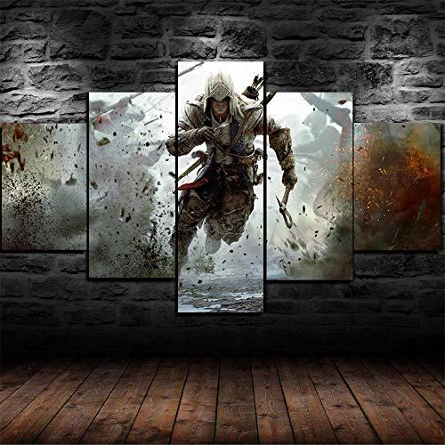 CVBGF 5 Impresiones artísticas de Alta definición, Póster de la película Assassin'S Creed III imágenes gráficas artísticas, Carteles e Impresiones Modernas de Alta definición,con Marco