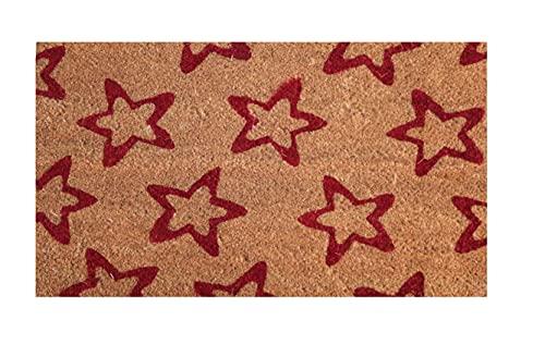 Felpudo de Coco Natural, felpudos Entrada casa, Alfombra Limpia Zapatos, Felpudo Exterior, Alfombra Entrada casa Interior, felpudos Originales y Divertidos, 40x70 (Estrella roja)