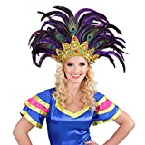 Amakando Tocado de plumas Rio Samba dorado y lila para disfraz brasileño, accesorio de bailarina de Sambata, accesorio para disfraz de carnaval en Río