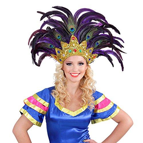 Amakando Federkopfschmuck Rio Samba-Kopfschmuck Gold, lila brasilienisches Kostüm Accesoire Sambatänzerin Zubehör Showgirl Outfit Karneval in Rio