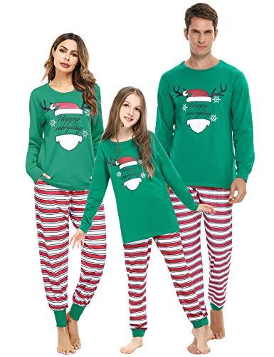 Akalnny Pigiama Natale Famiglia Set Pigiami Famiglia Coppia Modello di Renna Manica Lunga +Pantaloni Lunghi Invernale per Donna Uomo Bambini