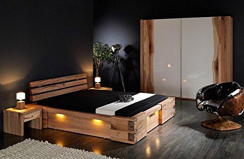 shogazi  Schlafkultur Massivholzbett Walküre - rustikales Designerbett, Größe:180x220cm