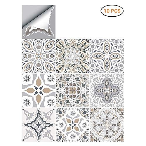 Surenhap Fliesenaufkleber 15x15 cm, Wandfliesen Klebefolie zur Wandgestaltung für Bad Küche Schrank Gang Toilette - 10 pcs-D