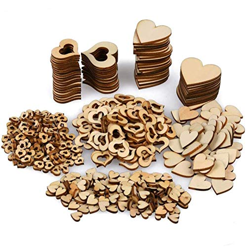 BESTZY Rebanada de Corazón de Madera 400 Piezas Corazón de Madera Maciza madera manualidades para Decoración de Bodas Joyería Artesanal Manualidades de Bricolaje.