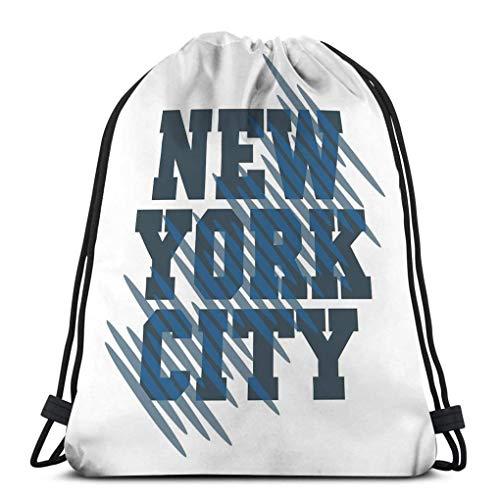 Lsjuee Classic Drawstring Bag Sport Storage Bag for Man Women New York Typography Graphic NYC Printing Man Original Clothing Emblem