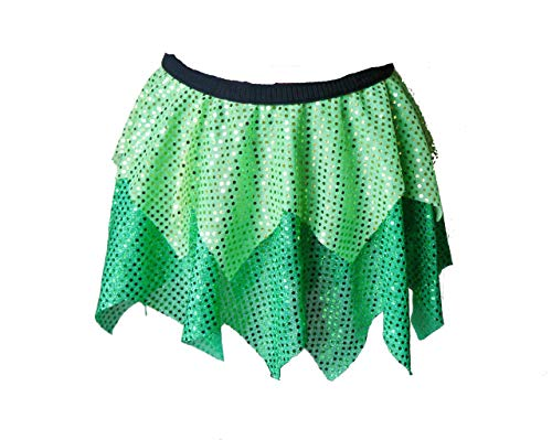 Tinkerbell Running Sparkle Skirt for Women, Woman Size Small, Medium, Large, XL, Princess Sparkle Run Outfit, Adult Fairytale Sequin Tutu, Cosplay Athletic Wear for Women, 5K, Half Marathon
