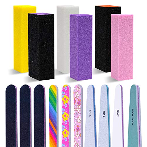 16 Pcs Nail File Set, Eleanore's Diary Professional Nail File Buffer...