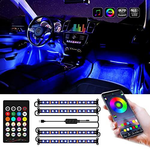 X-Speed 4 tiras de luces LED para el interior del coche, USB 48 LED, multi color de bricolaje, sincronización de música RGB debajo del salpicadero, decoración del coche