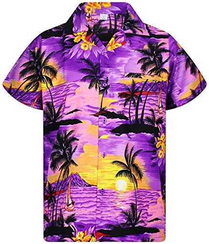 Funky Hawaiian Shirt, Surf, purple, S
