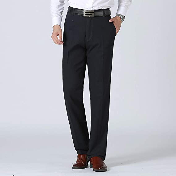 Qinhanjia Men S Casual Pants Business Pants With Zipper And Button Loose Comfortable Straight Pant Plus Size Men S Business Plain Color Casual Trousers Large Comfortable Pant Bekleidung
