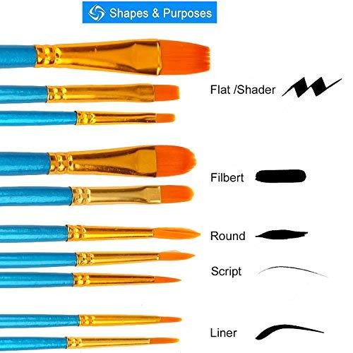 Soucolor Acrylic Paint Brushes Set, 20Pcs Artist Paintbrushes Paint Brushes for Acrylic Oil Watercolor, Body Face Painting, Rock Painting Kit, Fine Detail Miniature, Beginner/Kids Arts Crafts Supplies