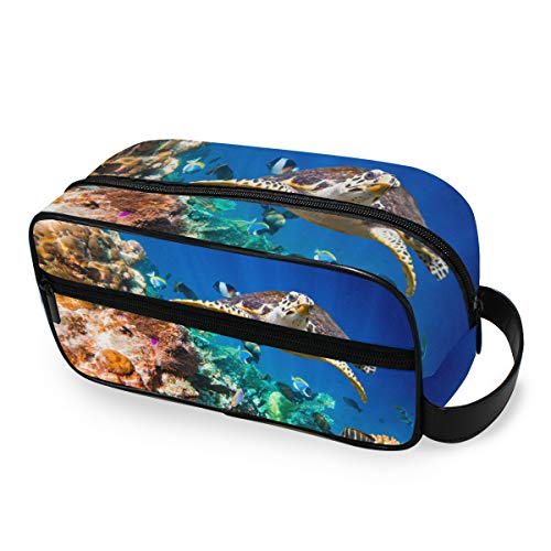Outils Cosmetic Train Case Portable Ocean Eretmochelys Sea Turtle Makeup Bag Toiletry Pouch Girls Travel Storage