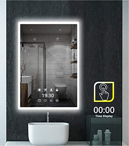 Peralng LED Bathroom Mirror Wall Mounted Light,28' X 20' Lighted Edge Backlit Vanity Light with 3-Colour Dimmable Touch Switch Horizontal Rectangle