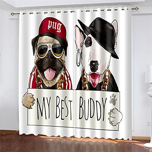 YUNSW Cortina De Poliéster De Impresión Digital 3D, Adecuada para Sala De Estar, Dormitorio Y Cocina, Sombreado Y Reducción De Ruido, Cortina Perforada para Perros (Total Width) 280x(Height) 2