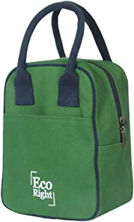 EcoRight Canvas Insulated Lunch Bag for Women, Men, Kids - 5 ltrs capacity | Reusable | Washable | Ethically Manufactured - Dark Green