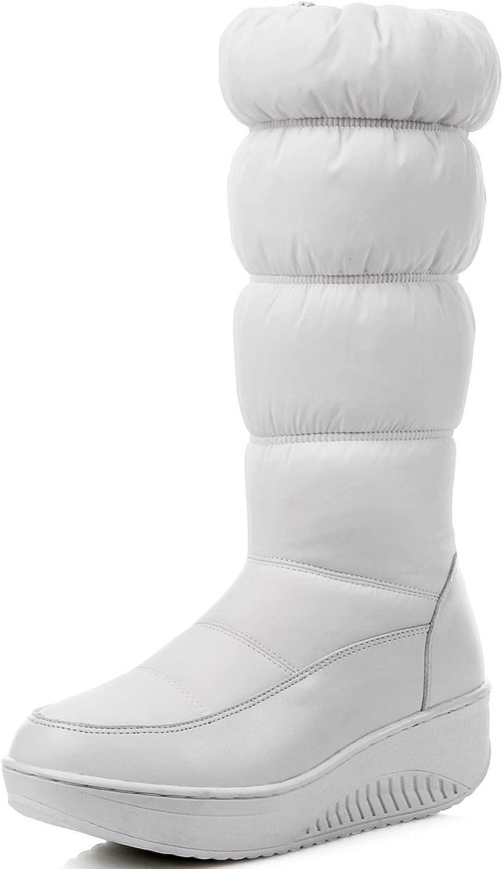 DoraTasia Puff Mid Calf Rubber Sole Mid Heel Women's Platform Boots