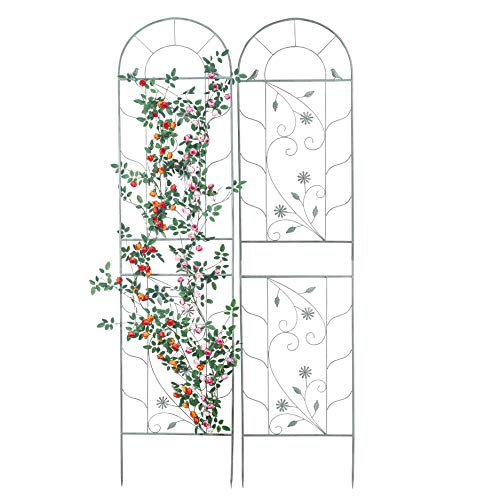 Sungmor Set mit 2 großen 210 cm Metall-Vogel-Gartenspalier für Kletterpflanzen, Retro-Stil, rustikaler Stil, Eisen-Pflanzenständer für Klettern, Ranken