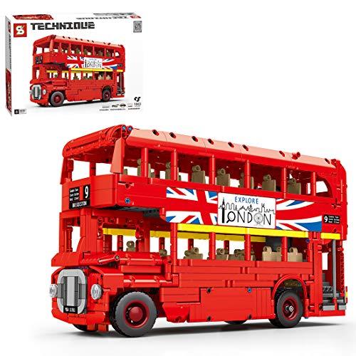 Seasy Técnica de autobús teledirigido de 2,4 G/aplicación, modelo de autobús teledirigido con motor, 1663 piezas de ingeniería de autobús compatible con el autobús Lego Technik Bus