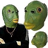 Maschera in lattice di pesce con bocca verde, divertente maschera di pesce strano carpa copricapo in silicone Cosplay festa di carnevale per adulti