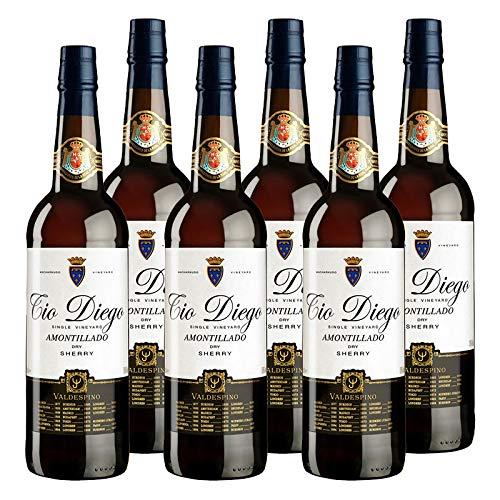 Vino Amontillado Tio Diego de 75 cl - D.O. Jerez - Bodegas Grupo Estevez (Pack de 6 botellas)