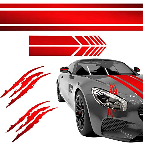 Car Stickers Decorations Car Hood Stripe Sticker Set Universal Auto Racing Body Side Stripes Vinyl Include 2 Decal Claw Marks 2 Car Rearview Mirror Stickers and Headlight Decal Stripe Decal (Red)