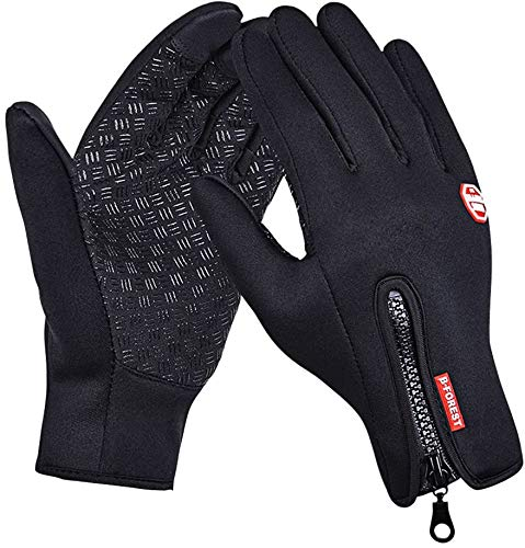 Speedrid Winter Thermal Gloves Touch Screen Glove Water Resistant Windproof Warm for Driving Cycling Running, Black Gel Bike Gloves Adjustable Size