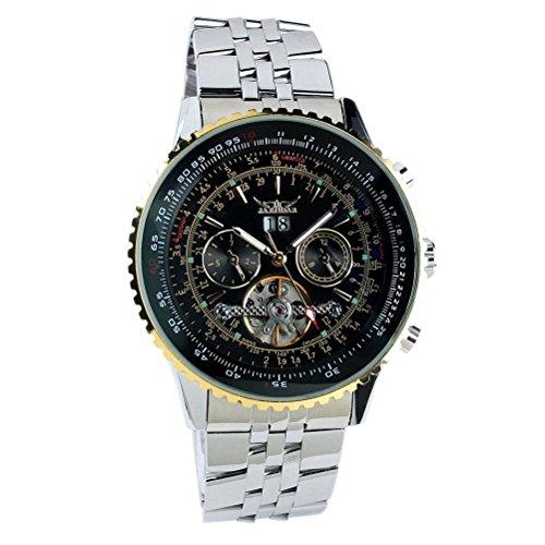Jargar j030Fashion Multifunktionale Herren Jungen runden Zifferblatt Edelstahl Stahl Band automatische mechanische Armbanduhr mit Datum/Woche (schwarz + golden)