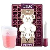 MEDIUM size GUMMY BEAR Mold with BONUS Pinch & Pour Cup + Dropper - by the Modern Gummy; Gelatin GUMMY Recipe on Package