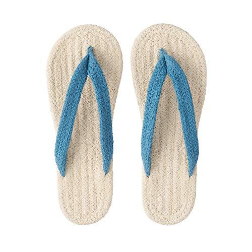 MUJI Jka38a0s Indische Zimmer-Sandalen aus Baumwollmischgewebe, Baumwolle, blau, Medium